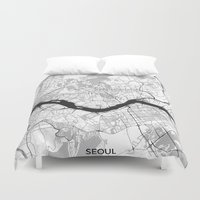 seoul Duvet Covers featuring Seoul Map Gray by City Art Posters