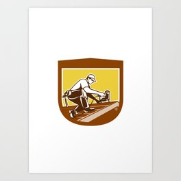 Roofer Roofing Worker Crest Shield Retro Art Print