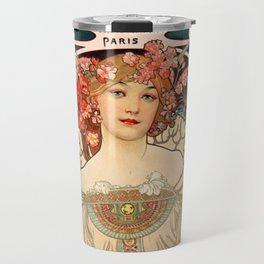 Mucha Daydream Art Nouveau Edwardian Woman Floral Portrait Travel Mug