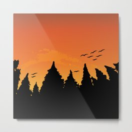 Orange sunset in the black forest Metal Print