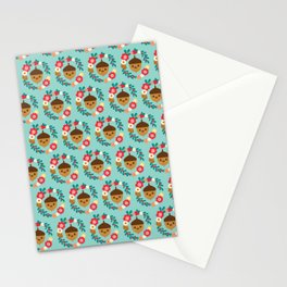 Acorn and Flowers Pattern Design / Blue Stationery Cards