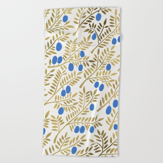 Olive Branches – Gold & Blue Beach Towel