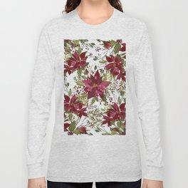 Poinsettia Flowers Long Sleeve T-shirt