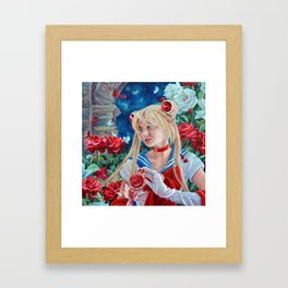 Sailor Moon: A Moonlight Romance, oil painting portrait of Usage with roses at Moon Kingdom Framed Art Print