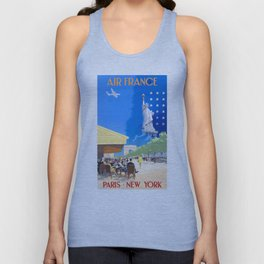 1951 Paris New York Air France Advertising Poster Unisex Tank Top