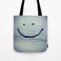 portlandia Tote Bags featuring Snow Smile by Beth Ann Short