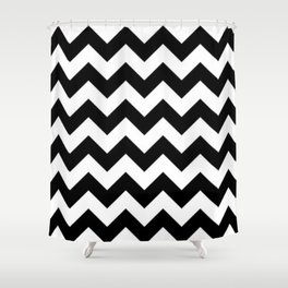 BLACK AND WHITE CHEVRON PATTERN - THICK LINED ZIG ZAG Shower Curtain