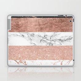 Modern chic color block rose gold marble stripes pattern Laptop & iPad Skin