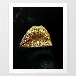 Golden Lips Art Print