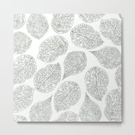 Greenery White Forest Green Foliage Pattern Metal Print