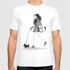 Houndstooth and a Scottie Watercolor Fashion Illustration Mens Fitted Tee White MEDIUM