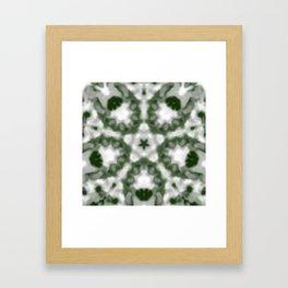 Green and White Kaleidoscope Framed Art Print