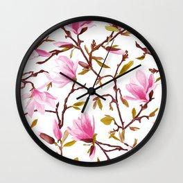 Pink Magnolia Spring Blossom Wall Clock