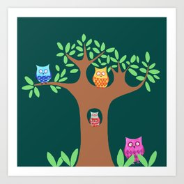 Owls in a tree Art Print