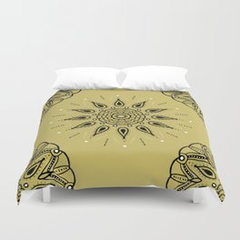 Central Mandala Dijon Duvet Cover