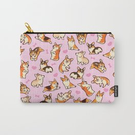 Lovey corgis in pink Carry-All Pouch