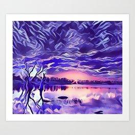 Cloudy Morning Sunrise on the Lake Art Print