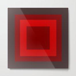 Dark Red Square Box Design Metal Print