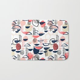 Cheli - modern abstract art print brushstroke painting trendy hipster peach pink pastel navy abstrac Bath Mat
