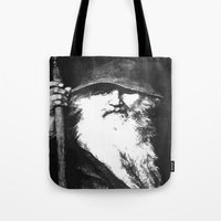 mythology Tote Bags featuring  Scandinavian Mythology the Ancient God Odin by taiche