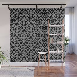 Scroll Damask Pattern Black on Gray Wall Mural
