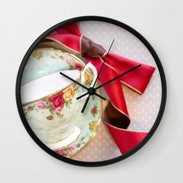Green Teacup Red Ribbon Wall Clock