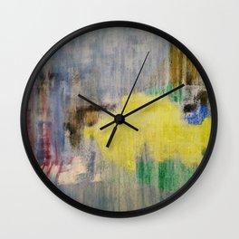 Rainy Day Grey, Rain, Water, Car, Abstract, Blue, Painting by Jodi Tomer Wall Clock