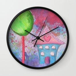 Whimsical House Watercolour Wall Clock