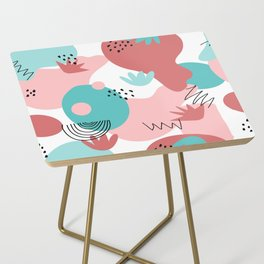 Teal and Pink Geometry Side Table
