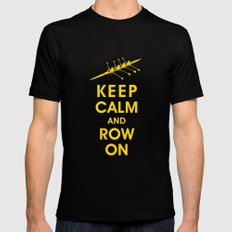 Keep Calm and Row On (For the Love of Rowing) LARGE Mens Fitted Tee Black
