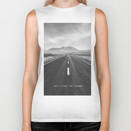 Let's Start the Journey: a minimal, photographic piece in black and white Biker Tank