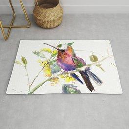 Hummingbird, beautiful decor colorful bird art Rug