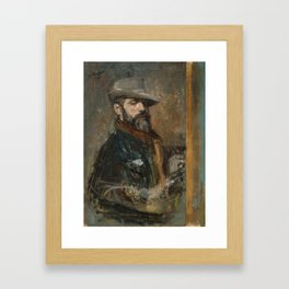 Ignacio Pinazo Camarlench - Self-Portrait Painting (Young Man with a Hat) [1895] Framed Art Print