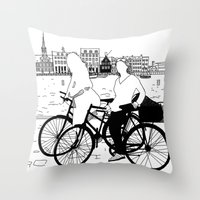 copenhagen Throw Pillows featuring Copenhagen by sarknoem