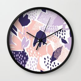 Pastel Cut-Out Abstract Collage Wall Clock