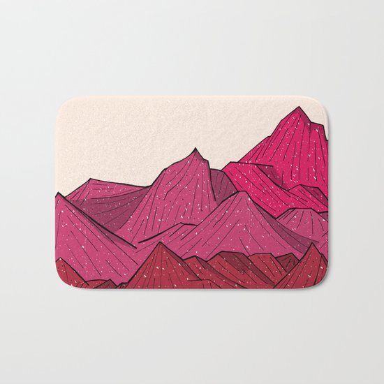 The falling snow and the mountains Bath Mat