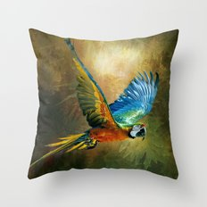 A Flash of Macaw Throw Pillow