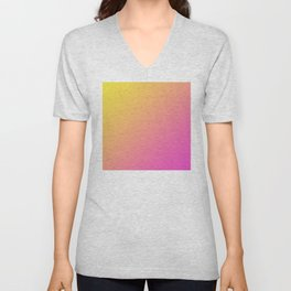 Yellow and Bright Pink Gradient Ombre Abstract Unisex V-Neck