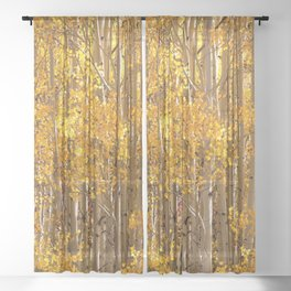 Season Of Gold 2d Panel Split Triptych Sheer Curtain