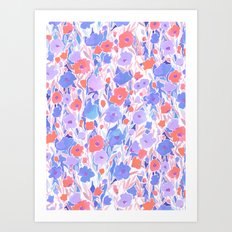 Flower Field Apricot Lilac Art Print