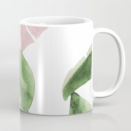 Tropical Leaves Green And Pink Coffee Mug