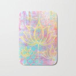 Layered Gold Lotus Painting Bath Mat