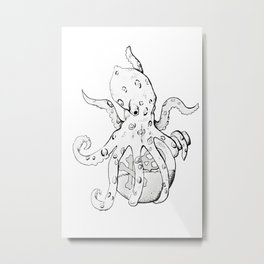 Blue Ringed Octopus , Original (inktober day one: Poisonous) Metal Print