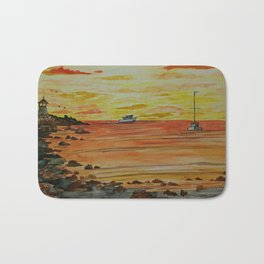 Sunset at Sandy Bay Gazebo on Rockport Front Beach Bath Mat