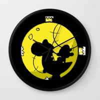 mario bros Wall Clocks featuring Yoshi and Baby Mario ( super mario bros ) by TxzDesign