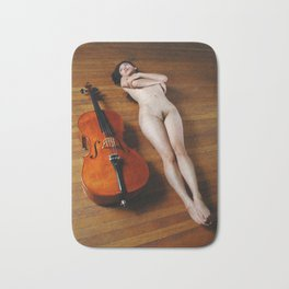 0137-JC Nude Cellist with Her Cello and Bow Naked Young Woman Musician Art Sexy Erotic Sweet Sensual Bath Mat