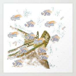 spiky orange fish Art Print