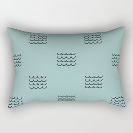Navy waves on tuquoise Rectangular Pillow