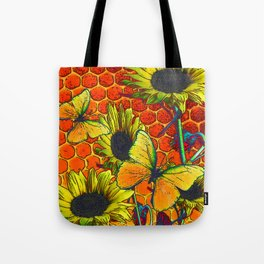 ORANGE-YELLOW BUTTERFLIES & SUNFLOWERS ARTISTIC HONEYCOMB DRAWING Tote Bag