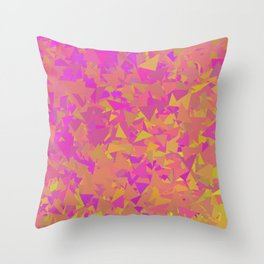 Pink, Orange, and Yellow Triangles Throw Pillow